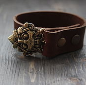 Украшения handmade. Livemaster - original item Leather bracelet mask of ODIN ,a Viking bracelet. Handmade.