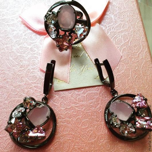 Комплекты украшений ручной работы. Ярмарка Мастеров - ручная работа. Купить Chic&Charmе. Серебряные серьги и кольцо с розовым кварцем и цирконами. Handmade.
