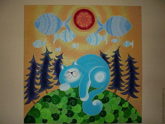 """Животные ручной работы. Ярмарка Мастеров - ручная работа. Купить Картина """" Мечты голубого кота"""". Handmade. Авторская картина"""