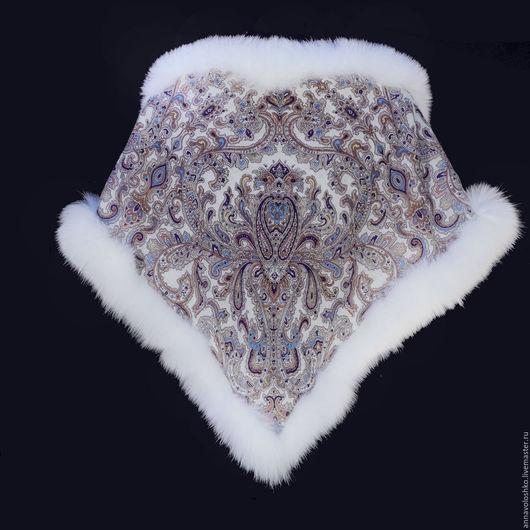 Павловопосадский платок с мехом. Лиса, чернобурка, песец, куница, норка.