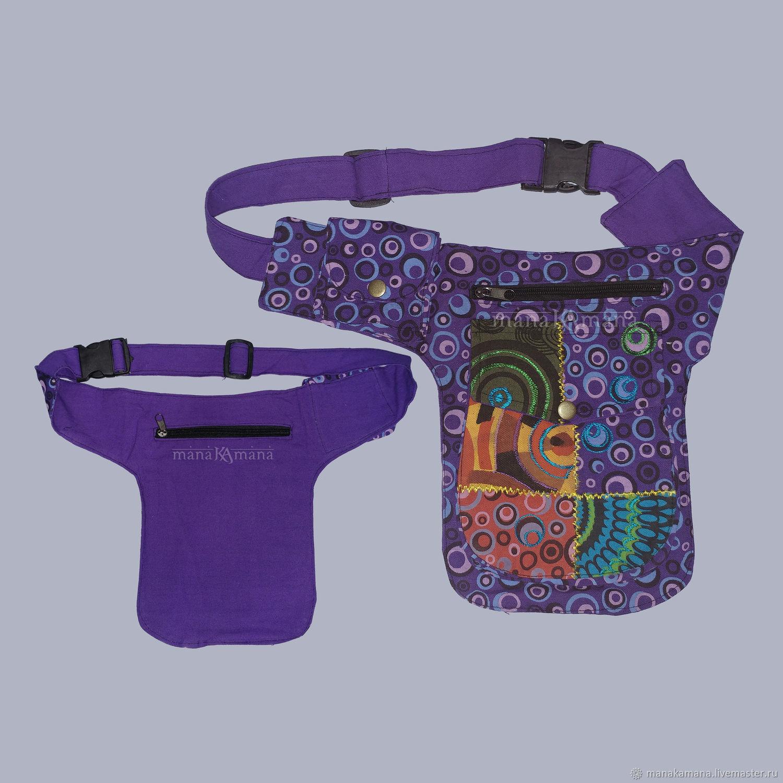 Сумка - кошелек на пояс 4 кармана с вышивкой
