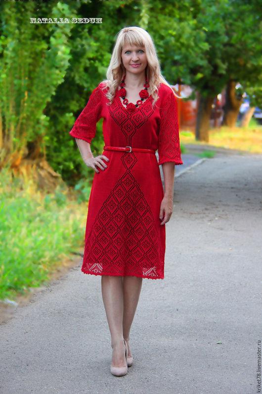 """Платья ручной работы. Ярмарка Мастеров - ручная работа. Купить Вязаное платье """"Лара"""". Handmade. Ярко-красный, вечернее платье"""