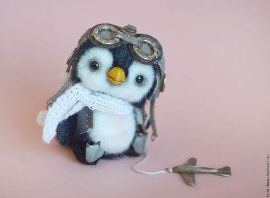 Мишки Тедди ручной работы. Ярмарка Мастеров - ручная работа. Купить Пингвинчик-авиатор Мелвин коллекционная авторская игрушка тедди. Handmade.