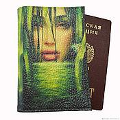 Обложки ручной работы. Ярмарка Мастеров - ручная работа Обложка на паспорт кожаная  Фея зелёного ручья, декупаж. Handmade.