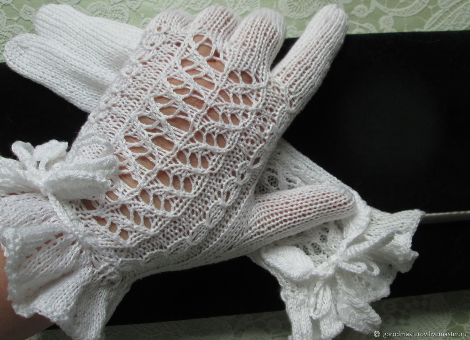 Summer white openwork gloves made of cotton, Gloves, Moscow,  Фото №1