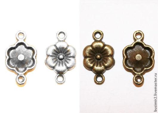 Коннектор, цвет - серебро, бронза. Размер 28х10 мм. Коннекторы для создания украшений. Busimir