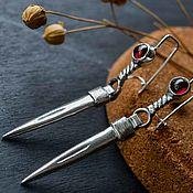 Украшения handmade. Livemaster - original item Silver earrings, natural stones: garnet, silver earrings. Handmade.