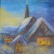 Картины и панно ручной работы. Ярмарка Мастеров - ручная работа Картина из шерсти Праздничный зимний домик. Handmade.