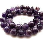 Материалы для творчества ручной работы. Ярмарка Мастеров - ручная работа Аметист 32 камня набор фиолетовый бусины 12 мм гладкий шар. Handmade.