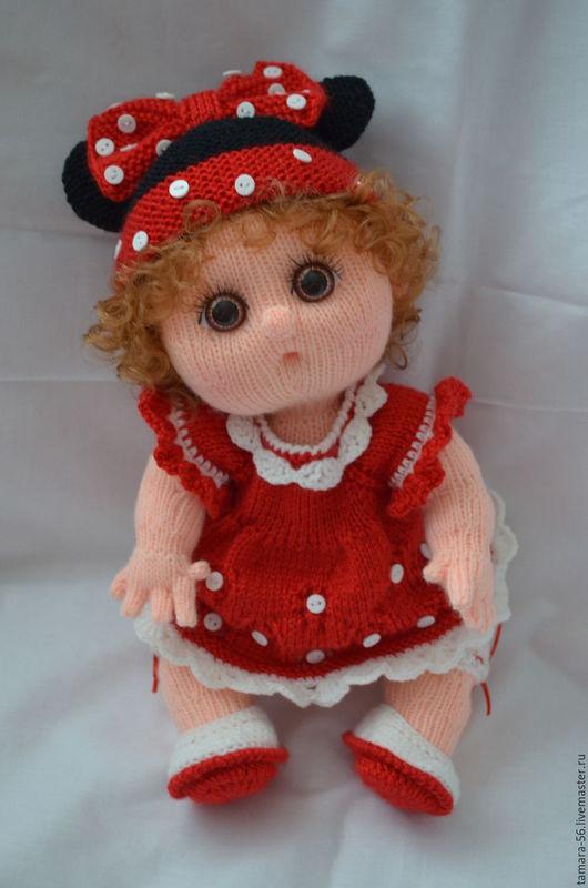 """Человечки ручной работы. Ярмарка Мастеров - ручная работа. Купить Кукла-пупс вязаная """"Минни"""". Handmade. Ярко-красный, минни"""