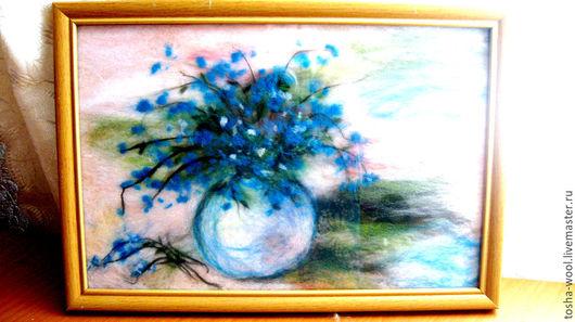Картины цветов ручной работы. Ярмарка Мастеров - ручная работа. Купить Голубые цветы в вазе. Handmade. Разноцветный, шерстяная акварель