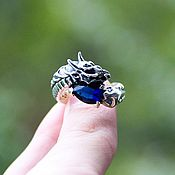 Украшения handmade. Livemaster - original item Ring with Dragon from silver 925 and artificial sapphire. Handmade.