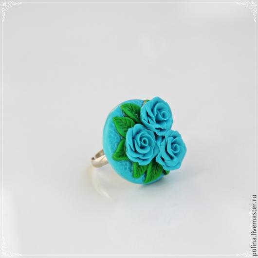 """Кольца ручной работы. Ярмарка Мастеров - ручная работа. Купить Кольцо """"Изысканность"""", голубые розы. Handmade. Розы, колье с розами"""