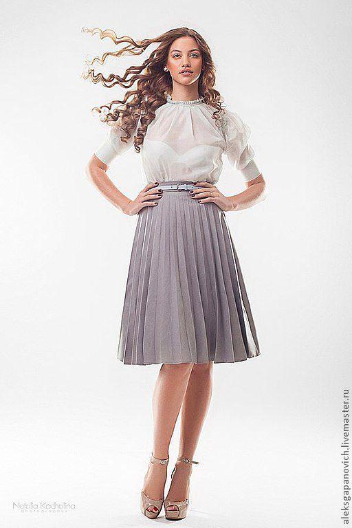 Юбки ручной работы. Ярмарка Мастеров - ручная работа. Купить Плиссированная юбка. Handmade. Серый, плиссированная юбка, дизайнерская одежда