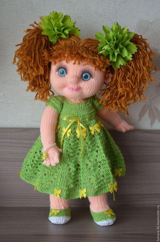 """Человечки ручной работы. Ярмарка Мастеров - ручная работа. Купить Кукла вязаная """"Ларочка"""". Handmade. Зеленый, кукла с красивыми глазами"""