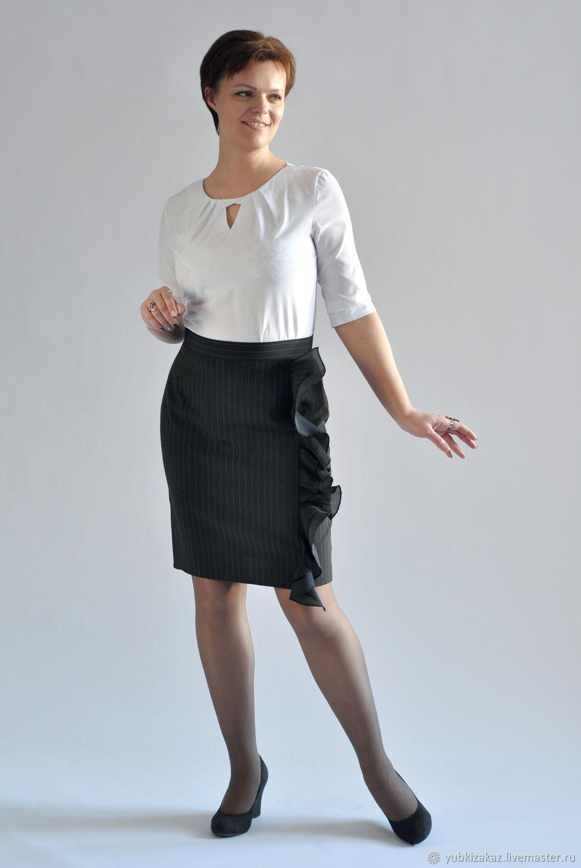 Skirt with asymmetrical flounces striped elegant, Skirts, Novosibirsk,  Фото №1