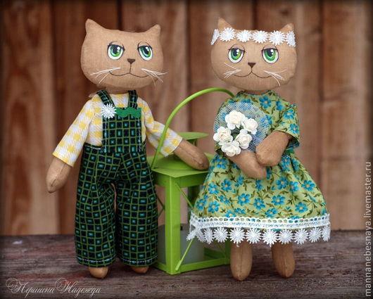 Ароматизированные куклы ручной работы. Ярмарка Мастеров - ручная работа. Купить Ромашковая парочка. Влюблённые коты.Кофейная Ароматизированная Игрушка. Handmade.