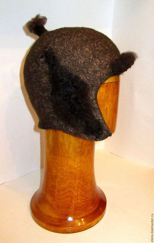 Шапки ручной работы. Ярмарка Мастеров - ручная работа. Купить Валяная шапочка - шлем. Handmade. Коричневый, шапка мужская