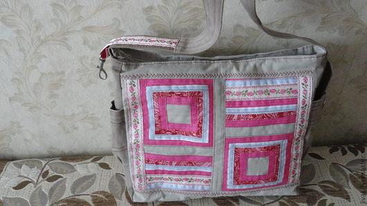 Женские сумки ручной работы. Ярмарка Мастеров - ручная работа. Купить сумка розовое панно. Handmade. Розовый, серый