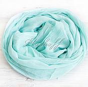 Аксессуары handmade. Livemaster - original item Basic plain cotton stole mint. Handmade.