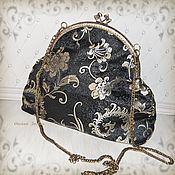 Сумки и аксессуары handmade. Livemaster - original item Bag with clasp: Roomy bag, black with gold pattern. Handmade.