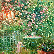 handmade. Livemaster - original item Oil painting on canvas. Blooming garden. Painting with flowers. Handmade.