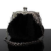 Сумки и аксессуары handmade. Livemaster - original item Black velvet handbag, velvet. Handmade.