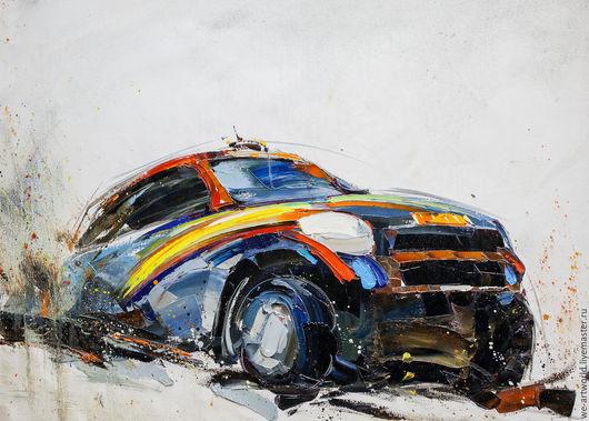 """Пейзаж ручной работы. Ярмарка Мастеров - ручная работа. Купить Картина маслом """"Автомобиль"""". Handmade. Комбинированный, картина в подарок"""
