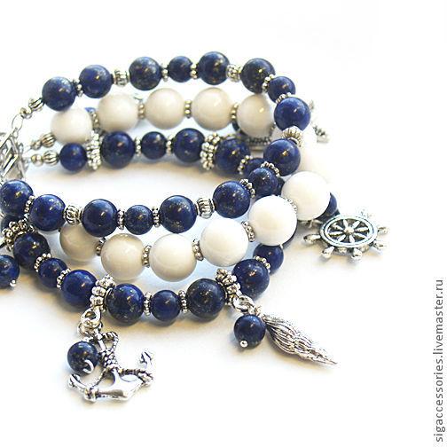 """Браслеты ручной работы. Ярмарка Мастеров - ручная работа. Купить """"В синем море, в белой пене"""" - браслет. Handmade."""