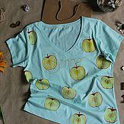 """Одежда ручной работы. Ярмарка Мастеров - ручная работа Ручная роспись """"Пикантные яблочки."""". Handmade."""
