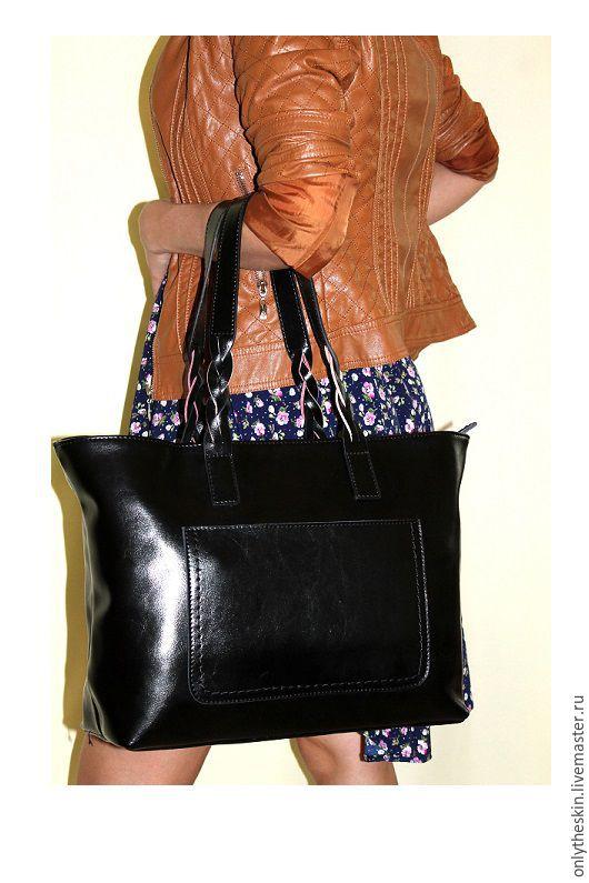 Женские сумки ручной работы. Ярмарка Мастеров - ручная работа. Купить Чёрная женская сумка из натуральной коровьей кожи. Черная косичка. Handmade.