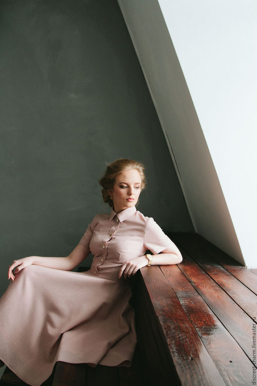 Платья ручной работы. Ярмарка Мастеров - ручная работа. Купить Розовое весеннее (летнее) платье с коротким рукавом и юбкой-солнце. Handmade.