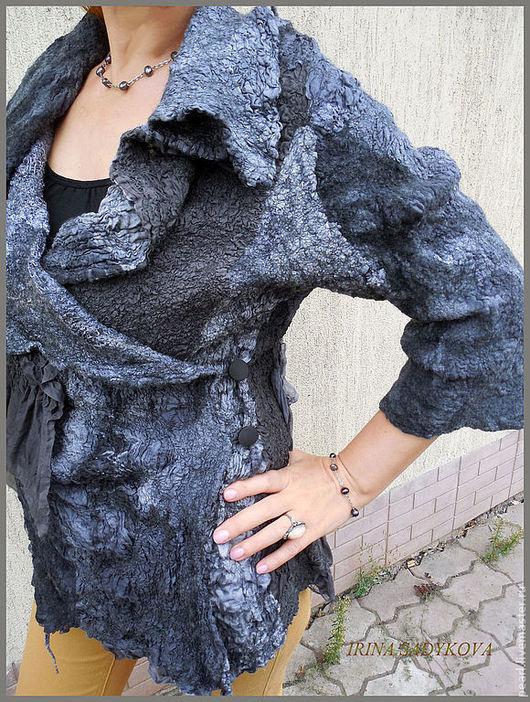 """Пиджаки, жакеты ручной работы. Ярмарка Мастеров - ручная работа. Купить Жакет """"Антрацитовый"""". Handmade. Темно-серый, шелк натуральный"""