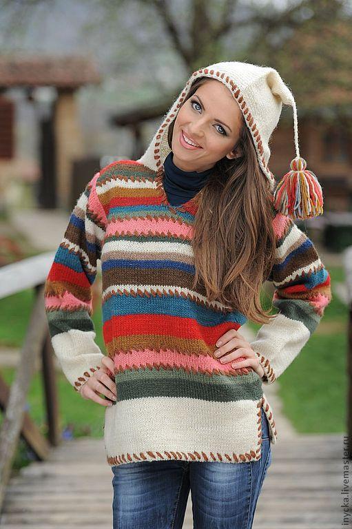 Кофты и свитера ручной работы. Ярмарка Мастеров - ручная работа. Купить Вязаный свитер с капюшоном 12WS02. Handmade. В полоску