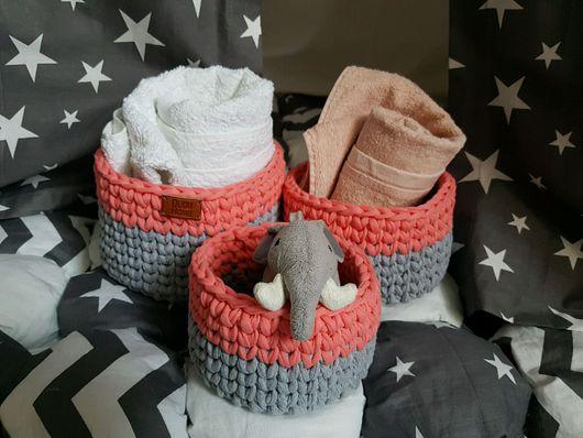 Корзины, коробы ручной работы. Ярмарка Мастеров - ручная работа. Купить Вязаные корзины для ванной Роза и Серый меланж. Handmade.