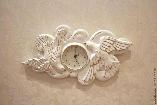 Часы для дома ручной работы. Ярмарка Мастеров - ручная работа. Купить Часы с голубями. Прованс. Handmade. Резные часы, позолота
