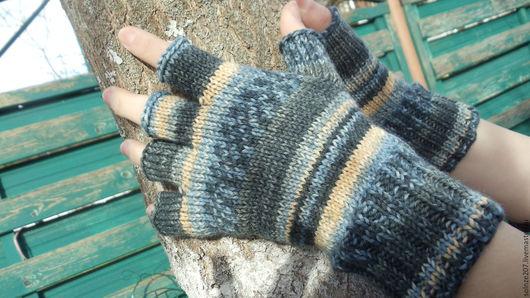 Варежки, митенки, перчатки ручной работы. Ярмарка Мастеров - ручная работа. Купить Митенки - полуперчатки.. Handmade. Полуперчатки, комбинированный