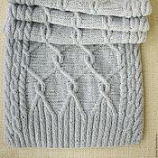 Аксессуары ручной работы. Ярмарка Мастеров - ручная работа Тёплые волны светло-серый шарф связанный из пряжи кашмир шерсть норки. Handmade.