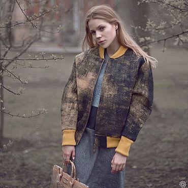 Одежда ручной работы. Ярмарка Мастеров - ручная работа Женская куртка из валяной шерсти, куртка бомбер. Handmade.