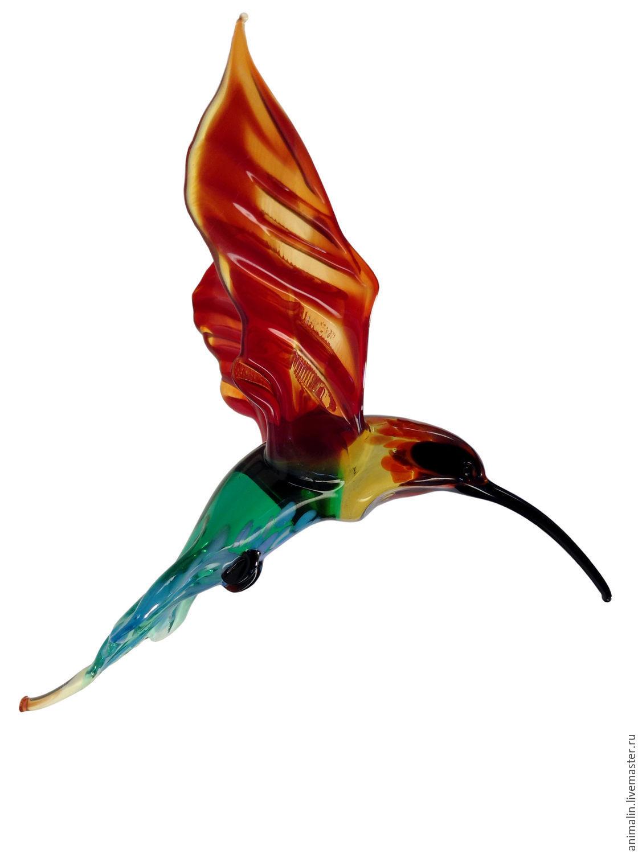 Интерьерное подвесное украшение из цветного стекла птица Колибри Flor, Подвесы для кашпо, Москва,  Фото №1
