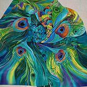 Аксессуары ручной работы. Ярмарка Мастеров - ручная работа Шарф-Батик``Перо павлина``. Handmade.