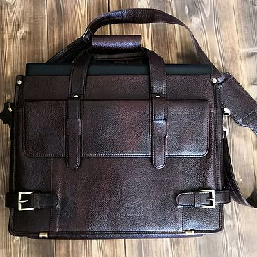 Bags and accessories handmade. Livemaster - original item Men`s bag briefcase genuine leather cattle. Handmade.
