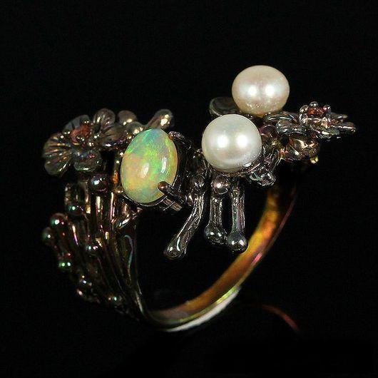 """Кольца ручной работы. Ярмарка Мастеров - ручная работа. Купить """" Роскошь морей"""" кольцо с опалом Эфиопии. Handmade. Опал"""