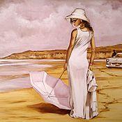 Картины и панно handmade. Livemaster - original item Oil painting with girl Beach walk. Handmade.