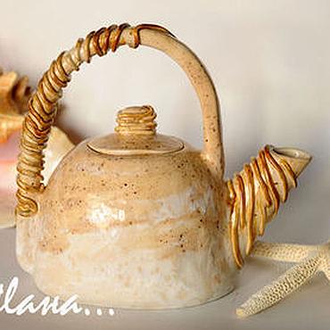 Посуда ручной работы. Ярмарка Мастеров - ручная работа Керамический чайник.. Handmade.