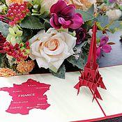 Модели ручной работы. Ярмарка Мастеров - ручная работа Эйфелева башня, Франция - 3D открытка / сувенир ручной работы. Handmade.