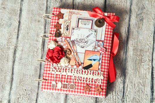 Кулинарные книги ручной работы. Ярмарка Мастеров - ручная работа. Купить Кулинарная книга (кулинарный блокнот). Handmade. Ярко-красный