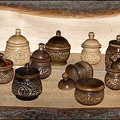 Для дома и интерьера ручной работы. Ярмарка Мастеров - ручная работа солонки деревянные резные. Handmade.