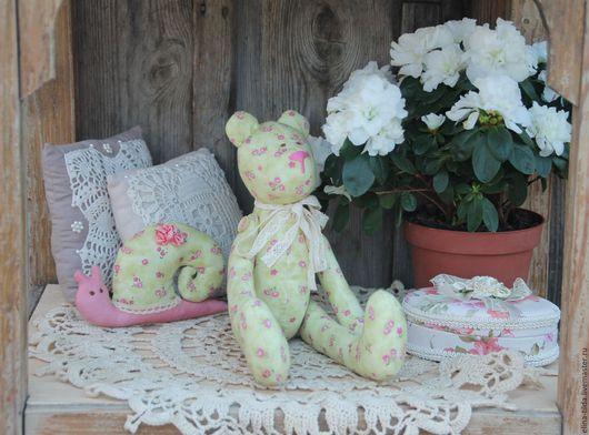 Куклы Тильды ручной работы. Ярмарка Мастеров - ручная работа. Купить Мишка тильда в цветочек. Handmade. Салатовый, в цветочек