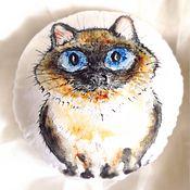 Для дома и интерьера ручной работы. Ярмарка Мастеров - ручная работа Круглая подушка с принтом Сиамец. Handmade.